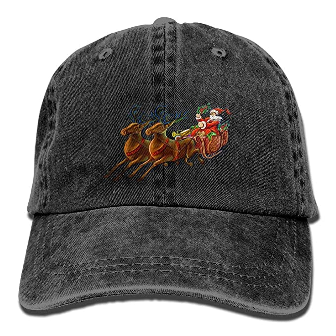 Santa Claus and Reindeer DIY Printed Summer Fashion Cotton Baseball Cap  Adjustable Trucker Hats for Outdoor efef92aeb77b