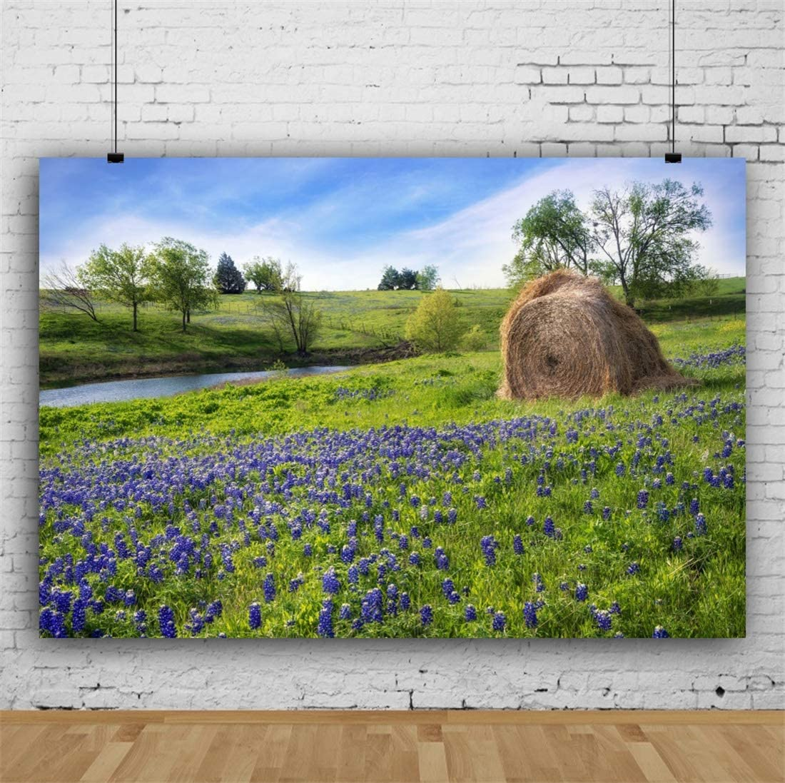 Yeele 10x8ft Forest Spring Landscape Photography Background Lakeside Haystack Stream Purple and Blue Flower Green Plant Grassland Sunshine Picnic Party Decoration Photo Backdrop Adults Portrait