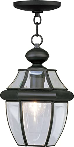 Livex Lighting 2152-04 Monterey 1-Light Outdoor Hanging Lantern, Black