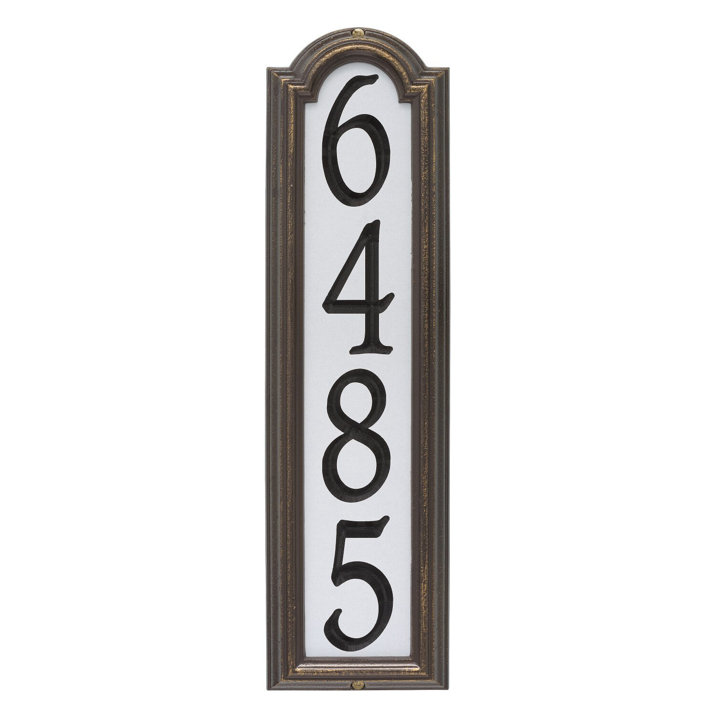 Custom Manchester REFLECTIVE VERTICAL WALL Address Plaque 21''H x 6''W
