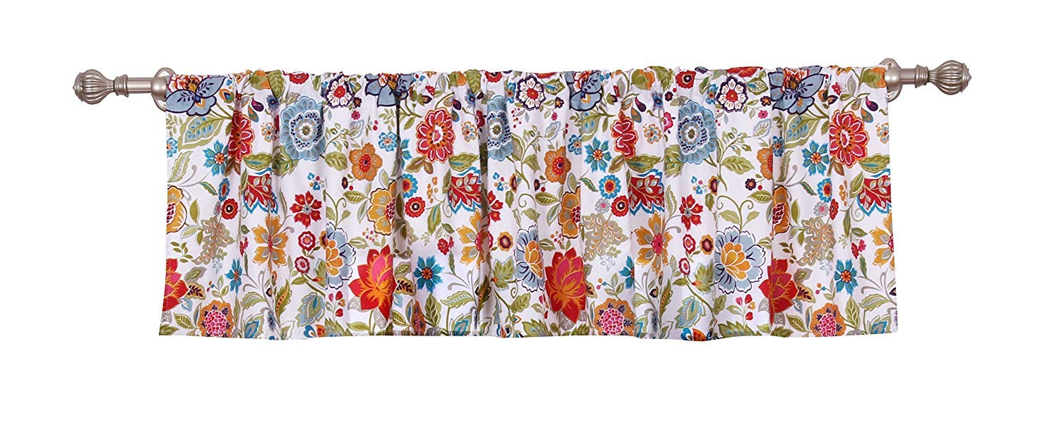 "Jody Clarke 1 PCMatching Valance Floral Print Multicolor Window Drape in 84"" Wide x 19"" Long Fully Stitched Draperie Rod Pocket"