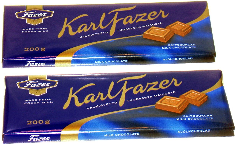 TWO FAZER MILK CHOCOLATE 200g Bars Made in Finland by Fazer Chocolates
