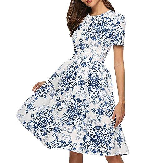 92a4e02cc4 Amazon.com: POTO Dress for Women Ladies Rose Print Mini Dress Summer ...