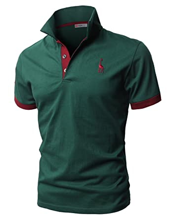 ce1594049 H2H Mens Cotton Solid Narrow Collar Polo Shirts Green US XS/Asia M (JDSK36