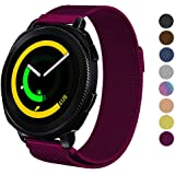 DELELE for Samsung Gear Sport / S2 / Galaxy Watch Band, 20mm Stainless Steel Milanese Loop Metal Replacement Strap with Magnet Lock for Gear Sport / S2 Classic/Galaxy Watch 42mm Women Men (Fuchsia)