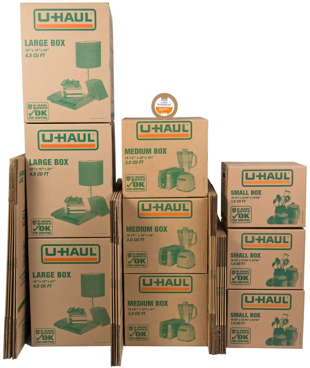 U-Haul Moving Box Variety Pack 10 Small, 10 Medium, and 5 Large Boxes - Suitable for Moving, Packing, Shipping, and Storage - Bonus Roll of Tape Included