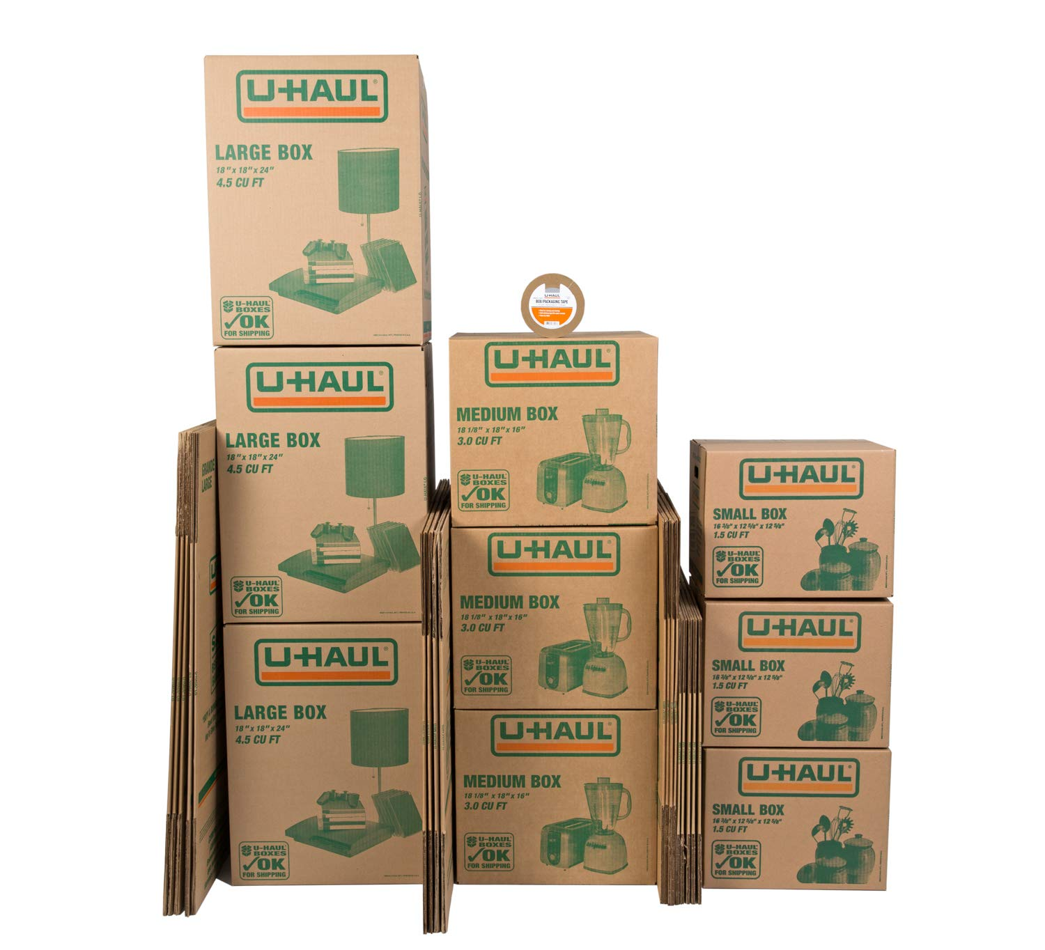 U-Haul Moving Box Combo Pack of 10 Small, 10 Medium, and 5 Large Boxes - Bonus Roll of Tape Included