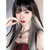 ENTRANCED STYLES Long Straight Wig with Bangs Black Wigs for Women Synthetic Wig Fashion Heat Resistant Fiber Wig Natural Loo