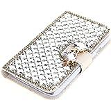 Lumia 1320 Coque, Moonmini® 3D luxe Bling strass diamants os Bow PU cuir flip Housse Portefeuille avec Porte-cartes pour Nokia Lumia 1320 - Blanc