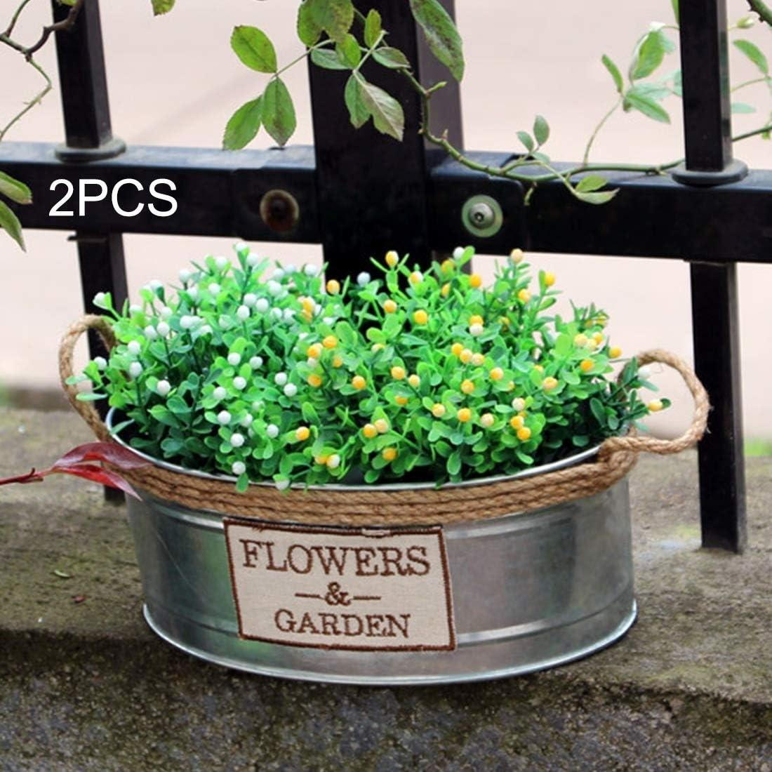 Lanbinxiang@ Barriles de hierro Retro Bucket Metal Mini Bucket Craft Floral Pot , Gran Tamaño 2PCS jardinería