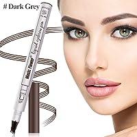 Aliceva Eyebrow Tattoo Pen, Waterproof & Smudge-Proof Microblading Eyebrow Pencil, Micro-Fork Tip Applicator for Daily Natural Eye Makeup (Dark Grey)