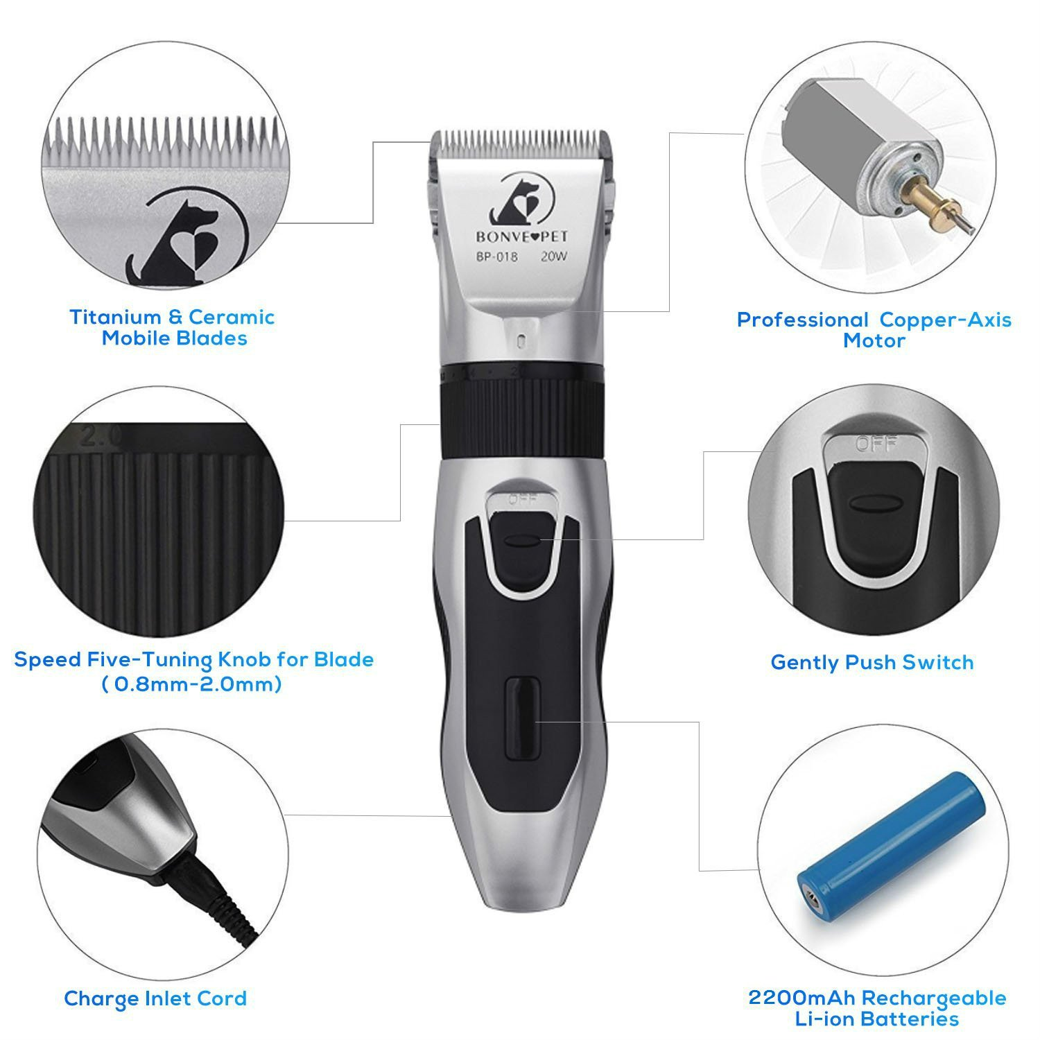 Dog Grooming Clippers - Cordless Quiet Pet Hair Clippers Trimmer Rechargeable with Stainless Steel Blades Dog Comb Shears Best Professional Hair Clipper Set for Dogs Cats Pets Long Short Hair by Bonve Pet (Image #1)
