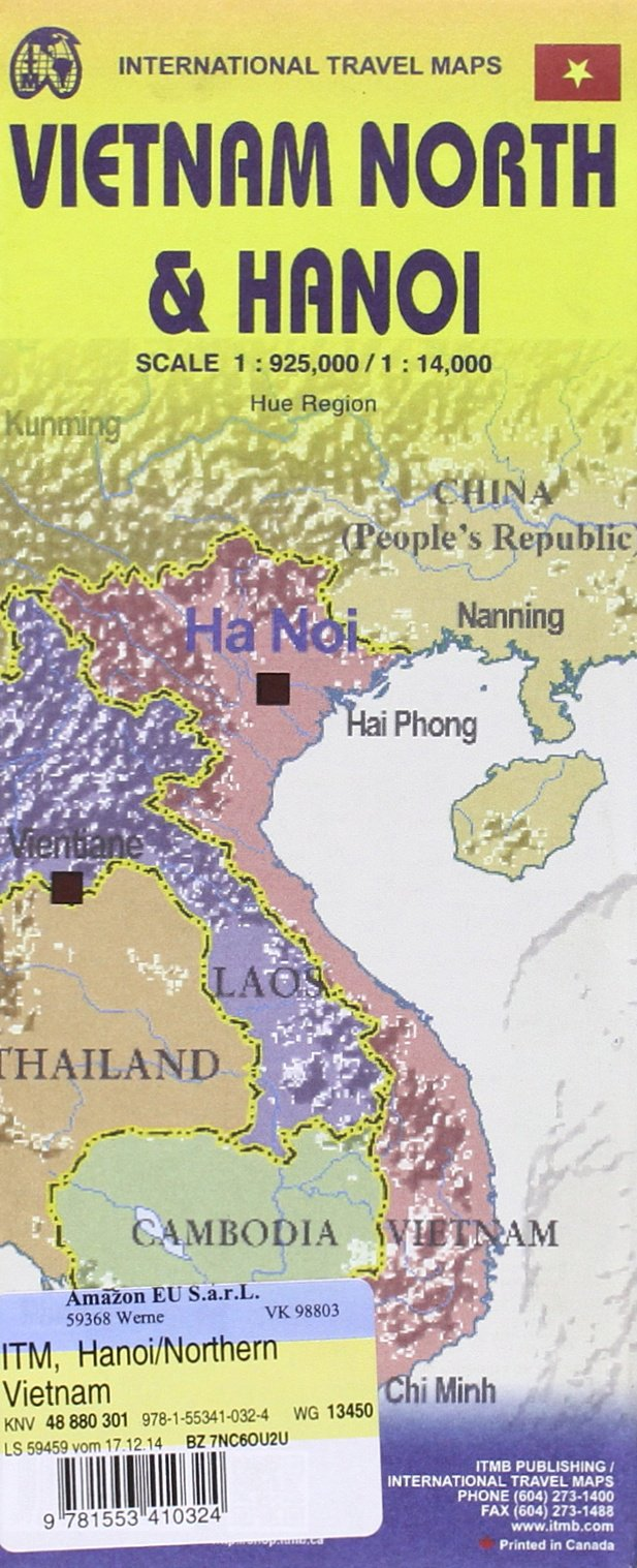 Hanoi & Northern Vietnam Travel Reference Map 1:14, 000/1:925, 000 ...