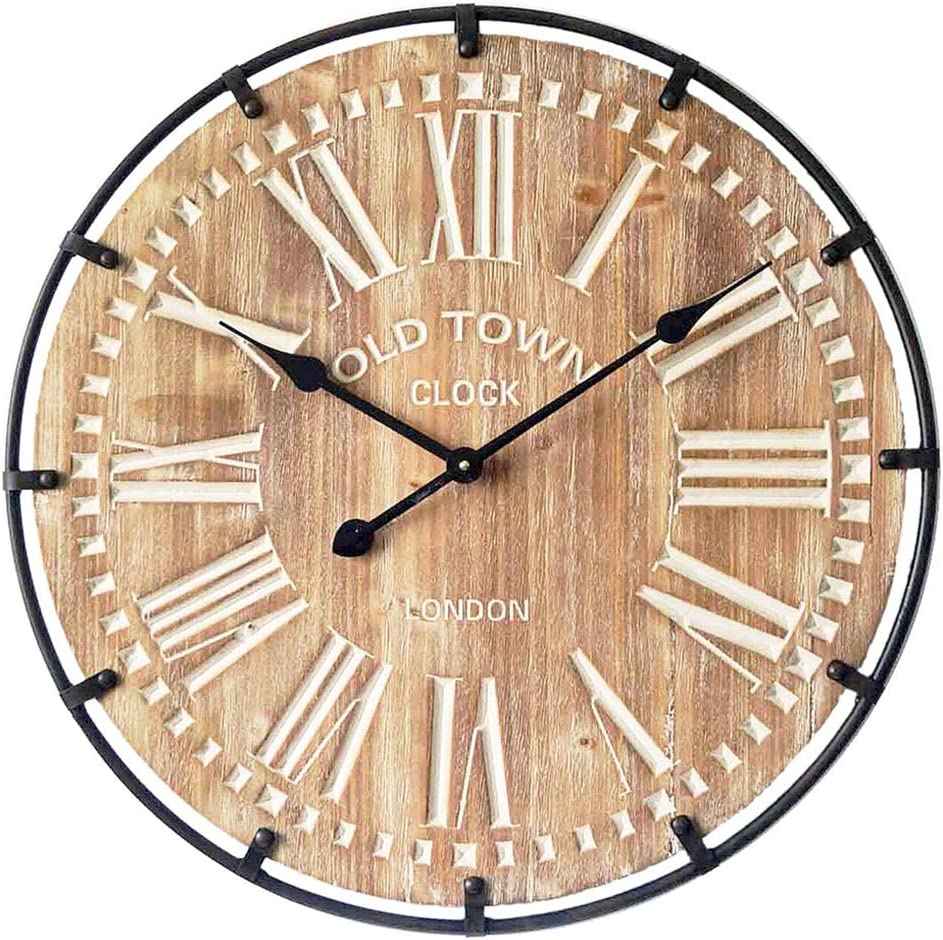 Mode Home Oversized Industrial Wood And Metal Wall Clock Old Town Noiseless Silent Wall Clock 24 Round Amazon Co Uk Kitchen Home