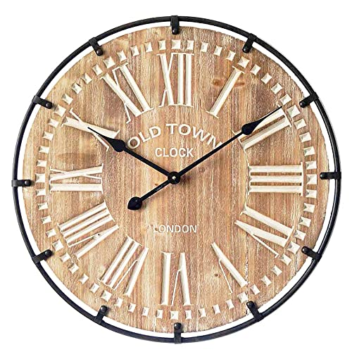 MODE HOME Oversized Industrial Wood and Metal Wall Clock Old Town Noiseless Silent Wall Clock 24 Round