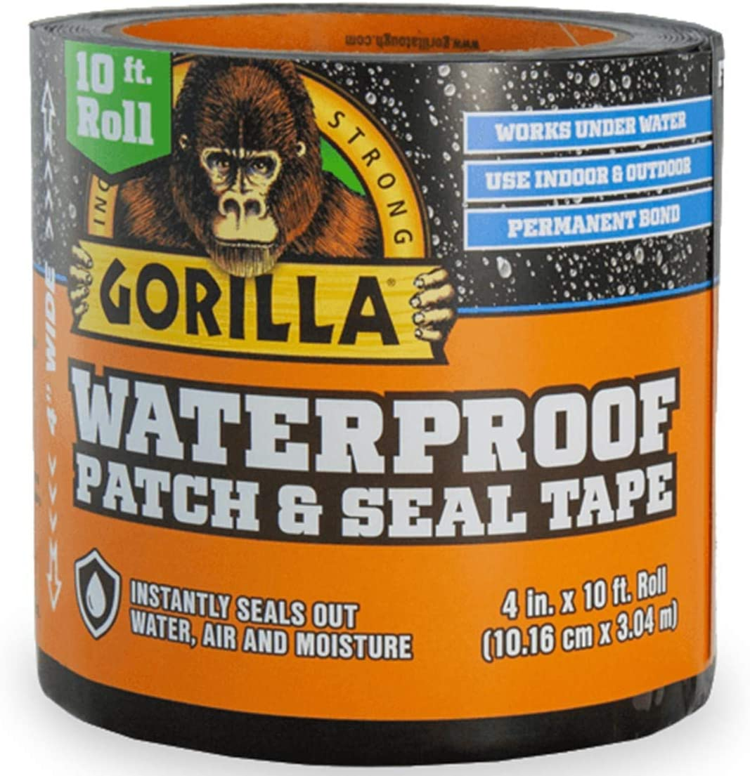 "Gorilla Patch Seal Tape 4/"" x 10/' Waterproof Black"