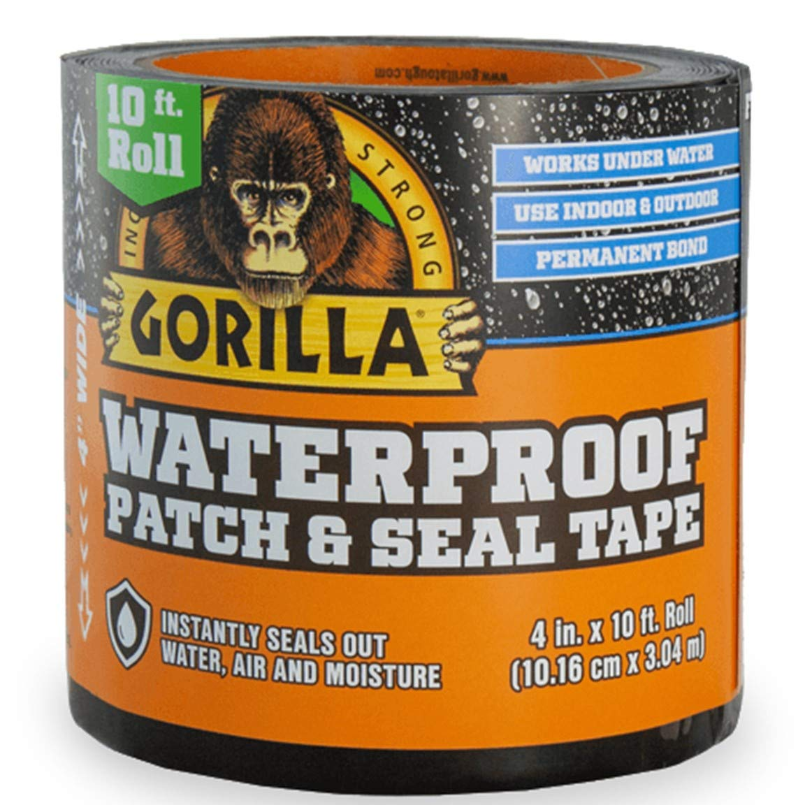 "Gorilla 4612502 Waterproof Patch & Seal Tape 4"" x 10' Black,"