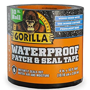 "Gorilla 4612502 Waterproof Patch & Seal Tape 4"" x 10' Black,"