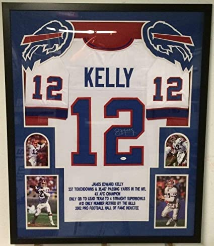 d27f3dcb6c4 Image Unavailable. Image not available for. Color  FRAMED JIM KELLY  AUTOGRAPHED SIGNED BUFFALO BILLS STAT JERSEY JSA COA