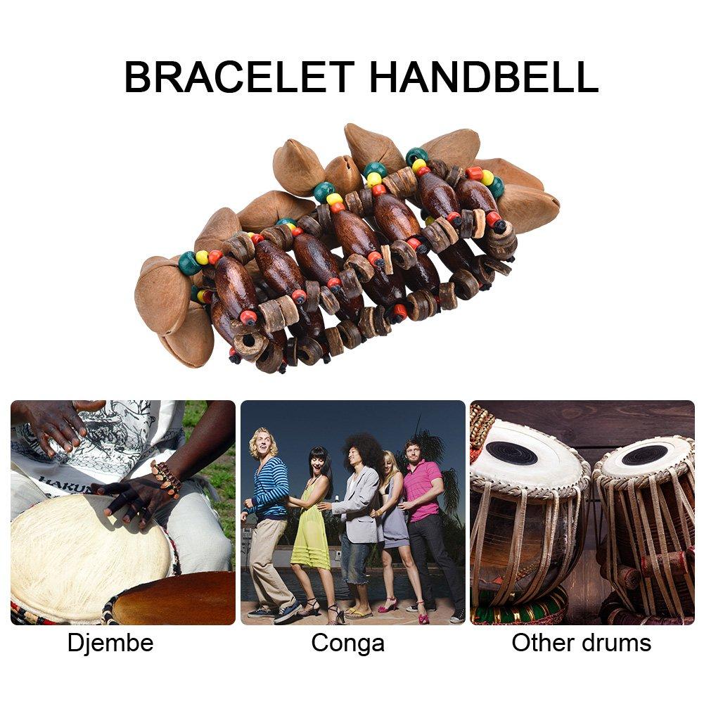 African Drum Handbell, Handmade Nuts Shell Bracelet Handbell Accompaniment for Djembe African Drum Instrumen Dilwe