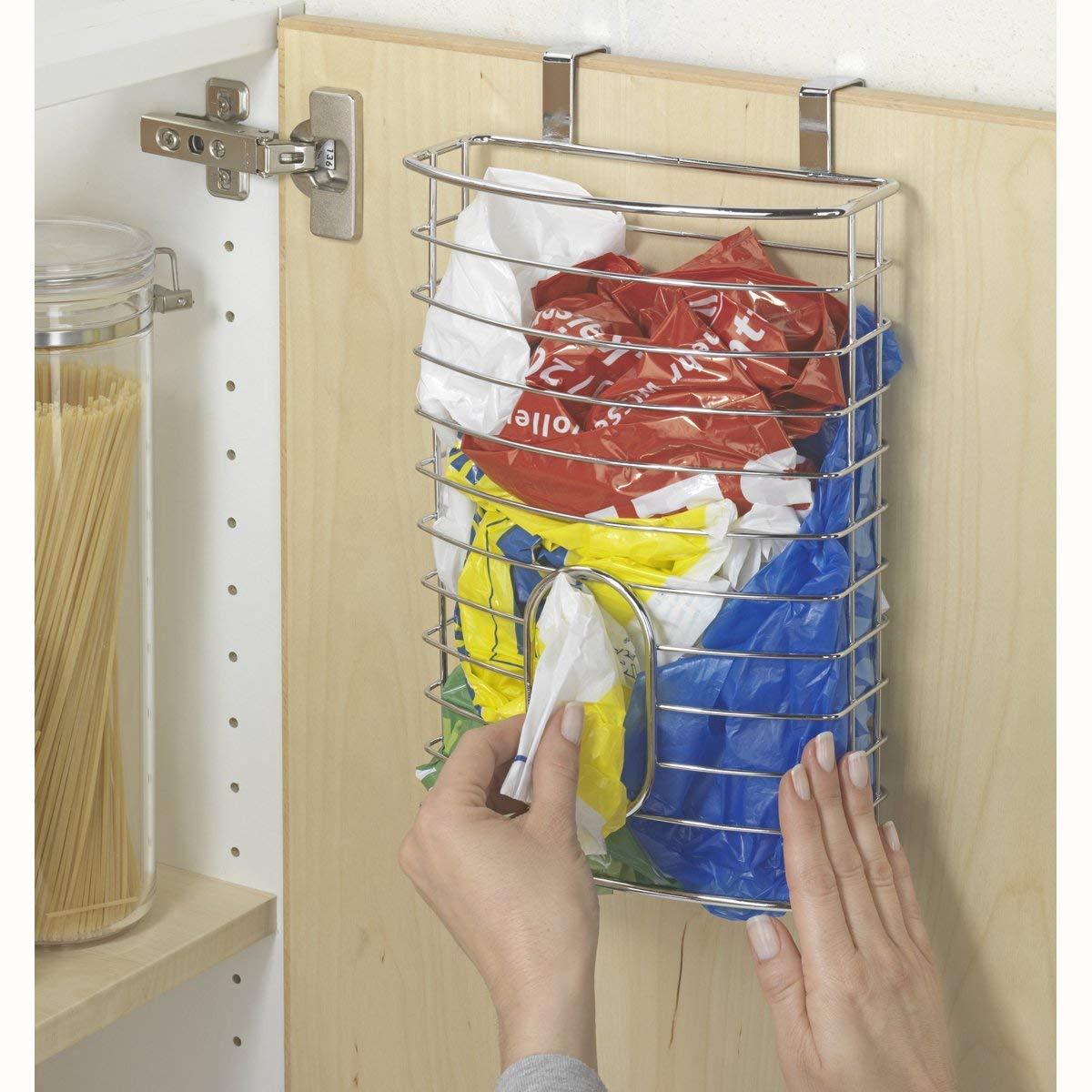 WENKO 2340100 Cesta para las bolsas de la compra Metal cromado Cromo 20 x 29 x 8 cm para colgar