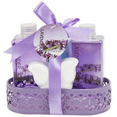 Bath and Body Beauty Gift Set for Women Lavender Essential oil Fragrance, Spa Bath & Shower Set Bubble Bath, Shower Gel, Body Lotion Purple Butterfly Bath Bomb Christmas Gift for her