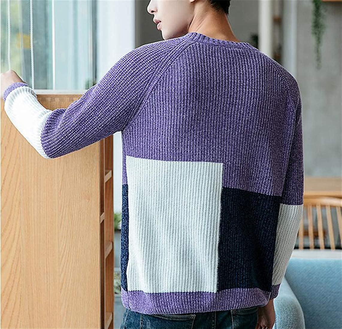 Etecredpow Mens Loose Fit Round Neck Knitted Contrast Colors Pullover Sweaters