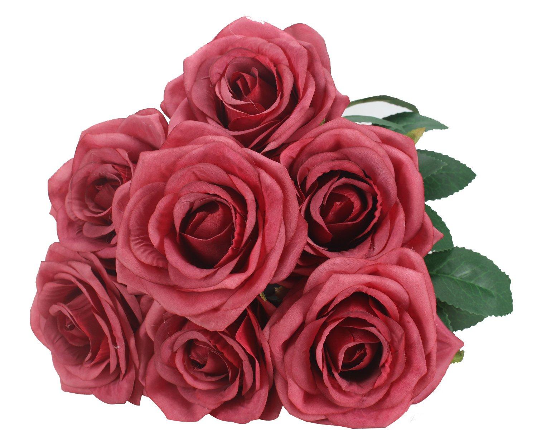 Duovlo-7-Heads-Vintage-Silk-Artificial-Flowers-Bouquets-Plastic-Wedding-Centerpieces-Arrangements-Decorations-Red