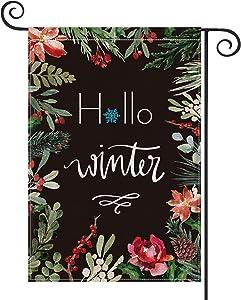 AVOIN Hello Winter Garden Flag Vertical Double Sized Poinsettia, Christmas Flower Yard Outdoor Decoration 12.5 x 18 Inch