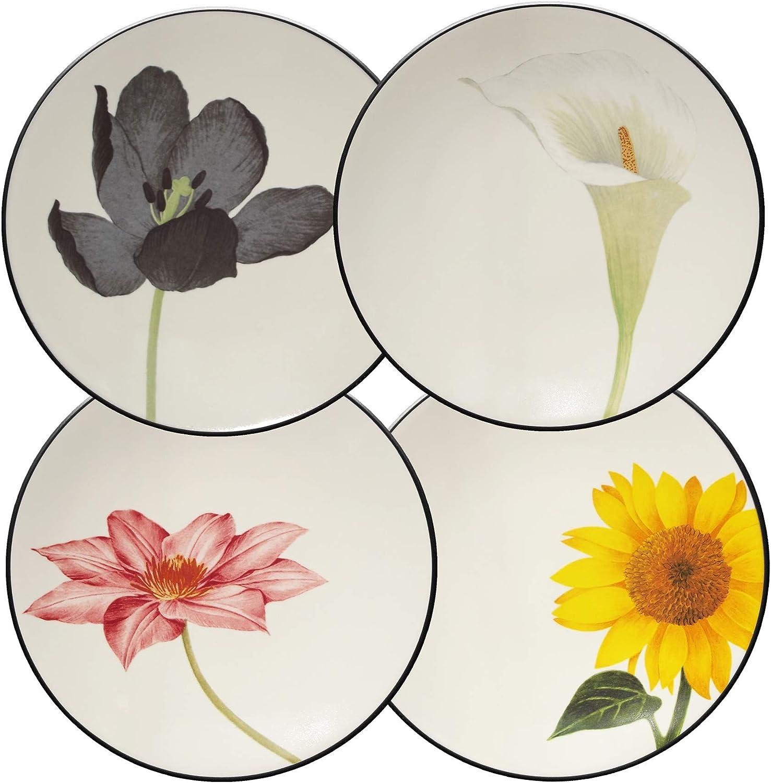 Noritake Colorwave Floral Appetizer Plates, Graphite Black, Set of 4