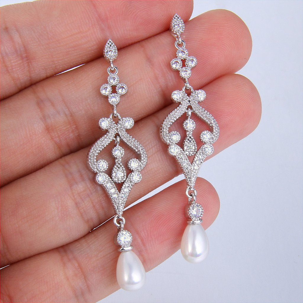 EVER FAITH Silver-Tone Pave CZ Cream Simulated Pearl Vintage Style Chandelier Dangle Earrings Clear by EVER FAITH (Image #3)
