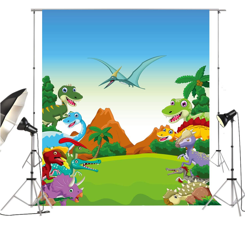 HUAYI 恐竜 写真背景 子供用パーティー背景 写真撮影用 薄いビニール製フォトブースデコレーション バックドロップ 5x7ft GXT6717 B07GLRN6X6