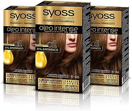 Syoss Oleo Intense - Tono 5-86 Castaño Caramelo (Pack De 3) – Coloración permanente sin amoníaco – Resultados de peluquería – Cobertura profesional de ...