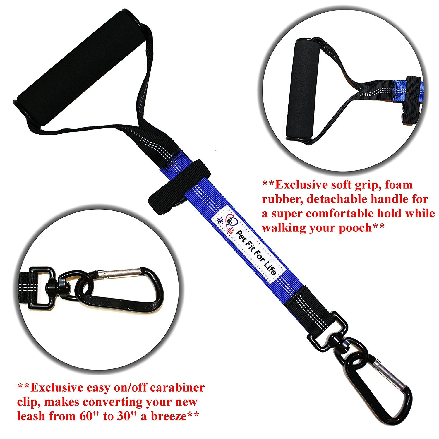 Pet Fit For Life Light Weight 64 Premium Dual Dog Leash with Comfortable Soft Grip Foam Rubber Handle and Integrated Shock Absorbing Bungee Bonus Water Bowl