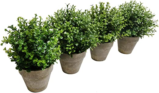 2pcs Pattern 1 U/'Artlines UArtlines 2 Pack Artificial Plastic Mini Plants Topiary Shrubs Fake Plants with Gray Pot for Bathroom,House Decorations,2 Styles