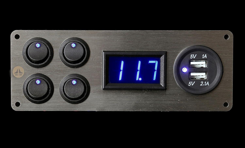 Panel con interruptores Lek Tek de 12 V y 2,1 A, con doble cargador USB, con 4 interruptores, iluminació n LED azul, voltí metro y placa base de acero inoxidable, para autocaravanas, caravanas, barcos y remolques para caballos