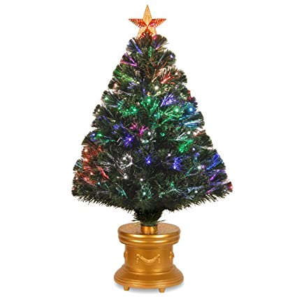 3 pre lit fiber optic radiance fireworks artificial christmas tree with gold base - Already Decorated Christmas Trees