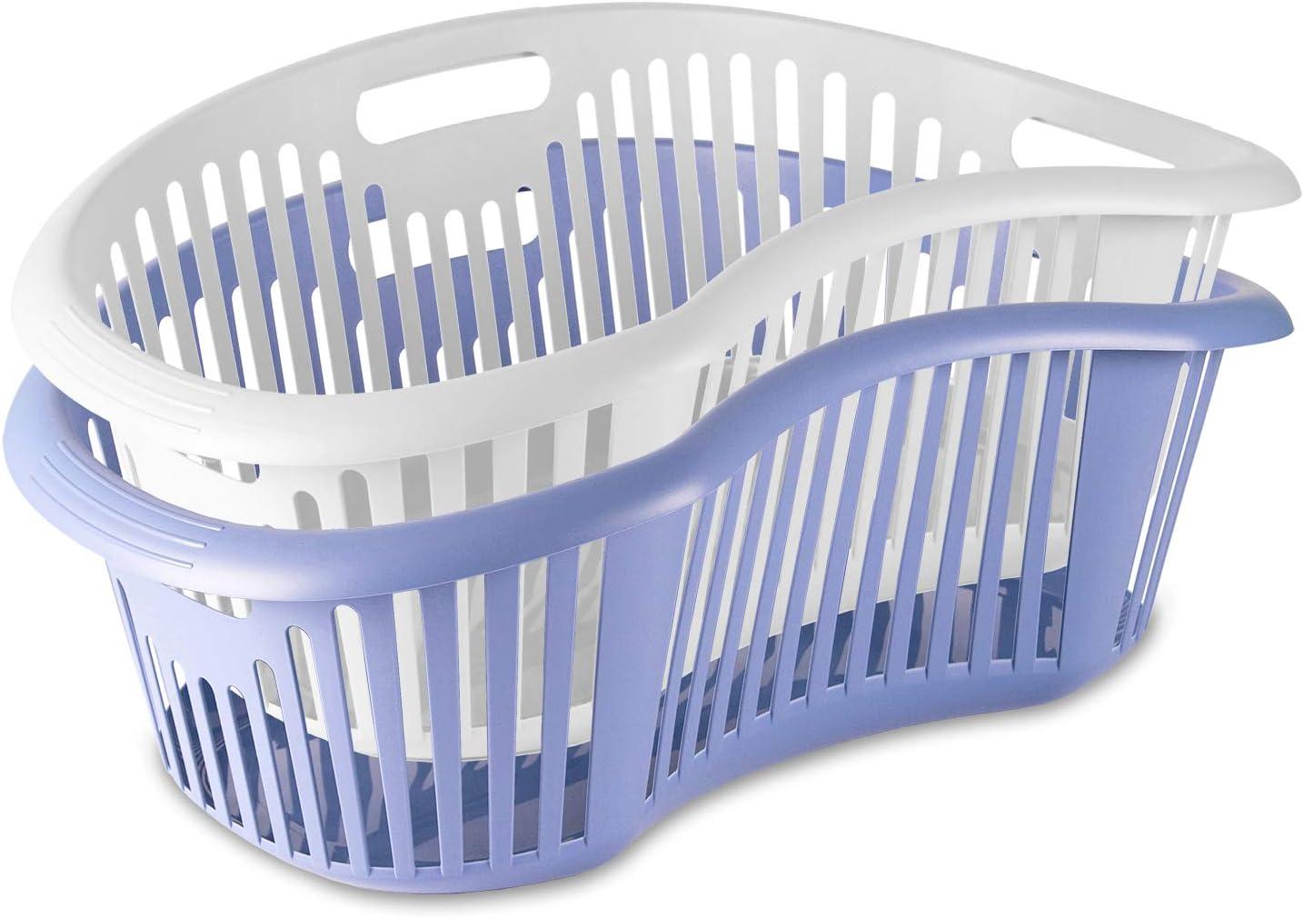 PracticDomus - Pack de 2 Cestas de Lavadero Tatay para la Colada Ergonómicas 8 kg de Capacidad, 30 L, Blanco y Azul