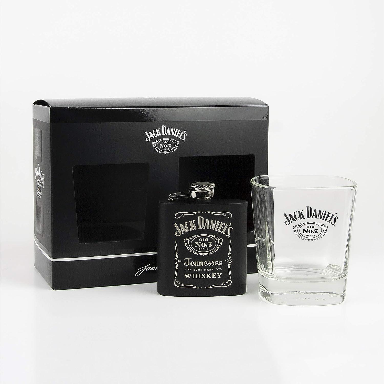 Jack Daniels Old No. 7, Vidrio, Vaso y petaca, Tumbler & Hip Flask