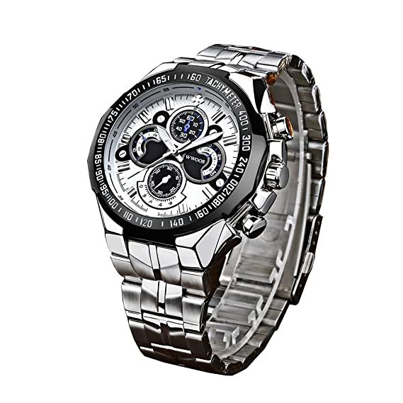 wwoor de hombre Sport Relojes al aire libre cuarzo analógico pulsera de acero inoxidable luminoso reloj de pulsera plata: Amazon.es: Relojes