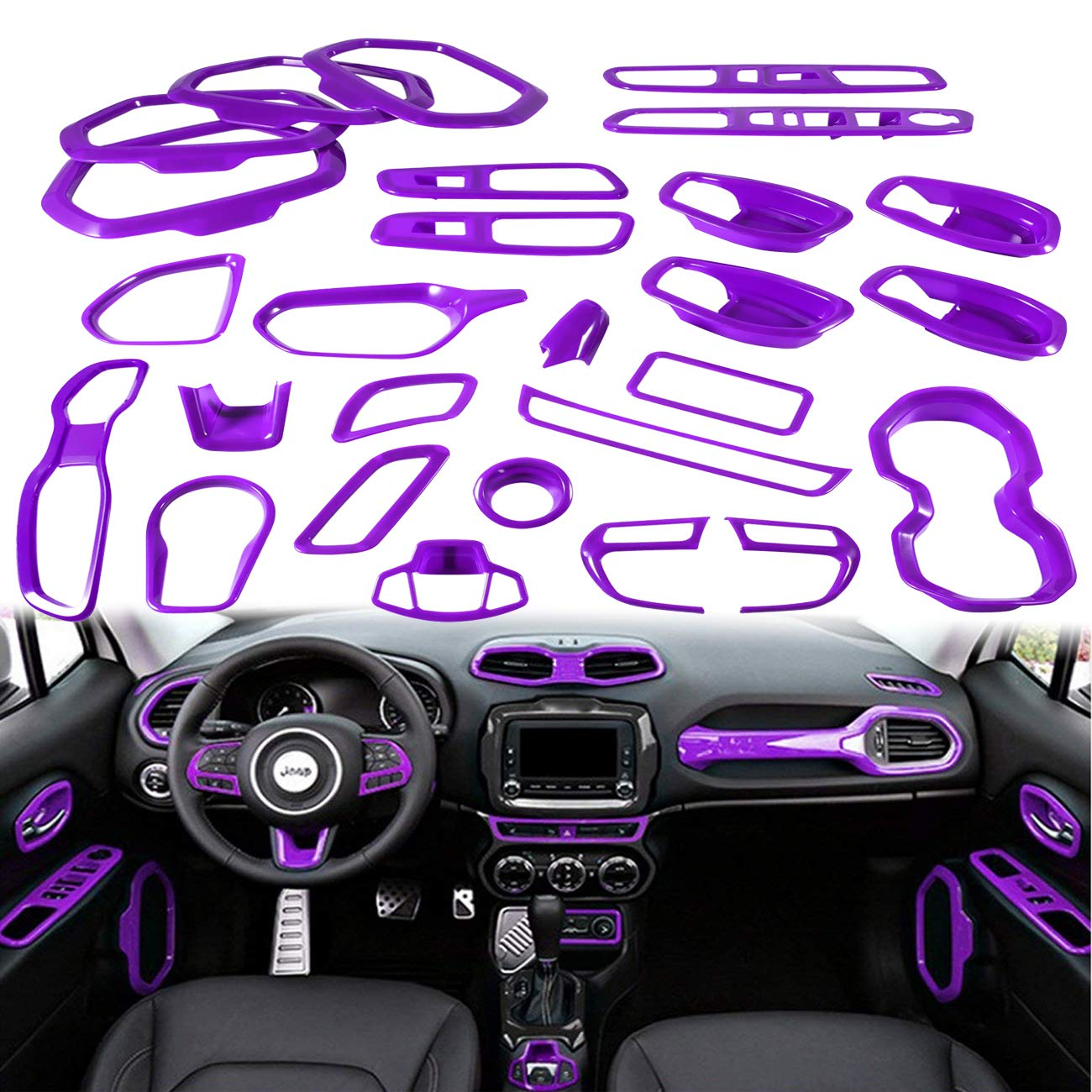 Yoursme Purple Car Interior Accessories Decoration Cover Trim Kit 31PCS Air  Conditioning Vent & Door Speaker & Water Cup Holder & Passenger Side Grab