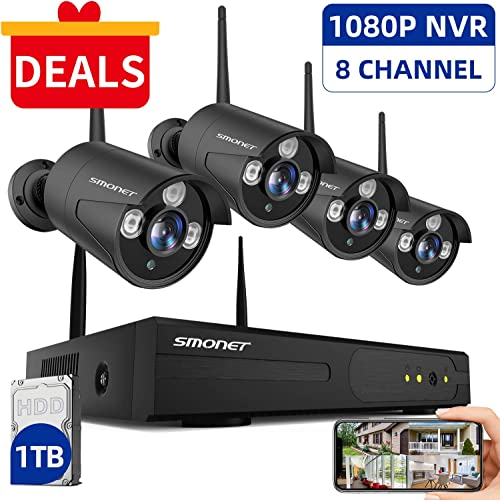 SMONET 2020 Security Camera System Wireless,8-Channel 1080P Home Security System 1TB Hard Drive ,4pcs 960P 1.3 Megapixel Indoor Outdoor Wireless IP Cameras,P2P,Night Vision,Easy Remote View,Free APP