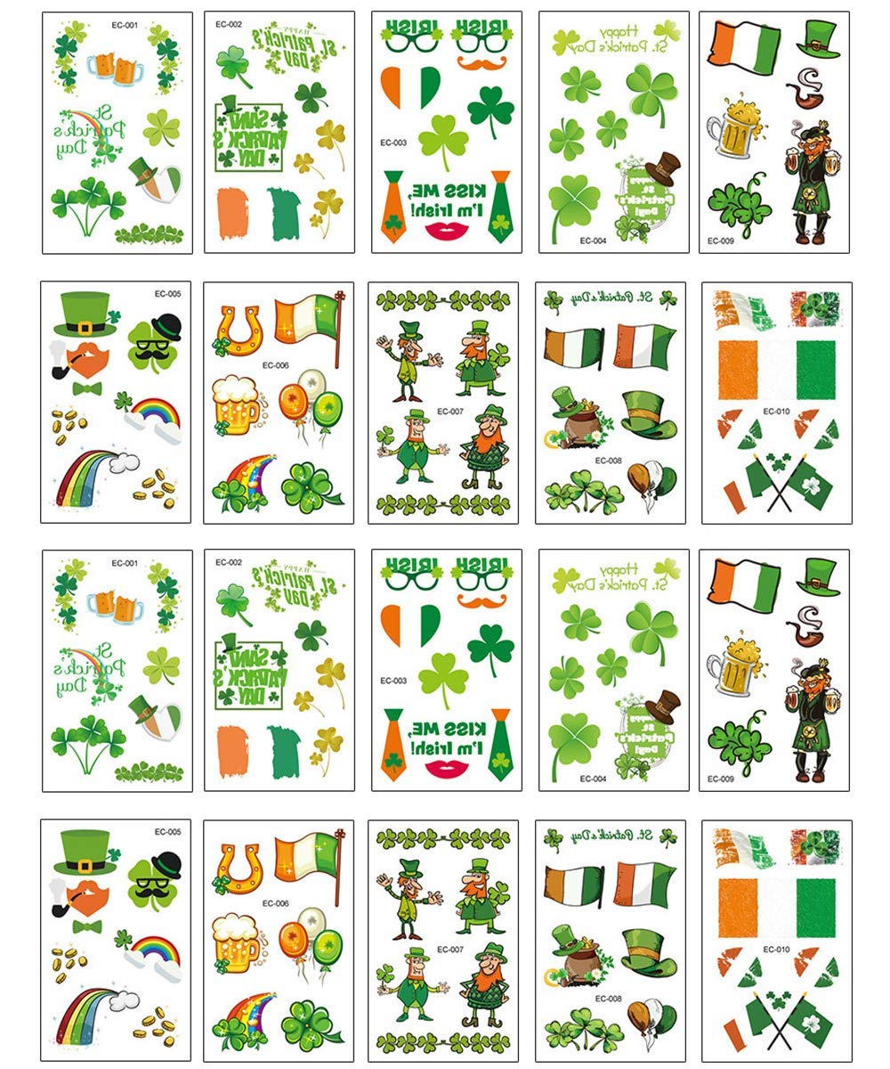 20 Sheets St. Patrick's Day Temporary Tattoos Waterproof Shamrock Clover Tattoos Fake Tattoos Stickers Accessories Gift for Boy Girl Men ans Women