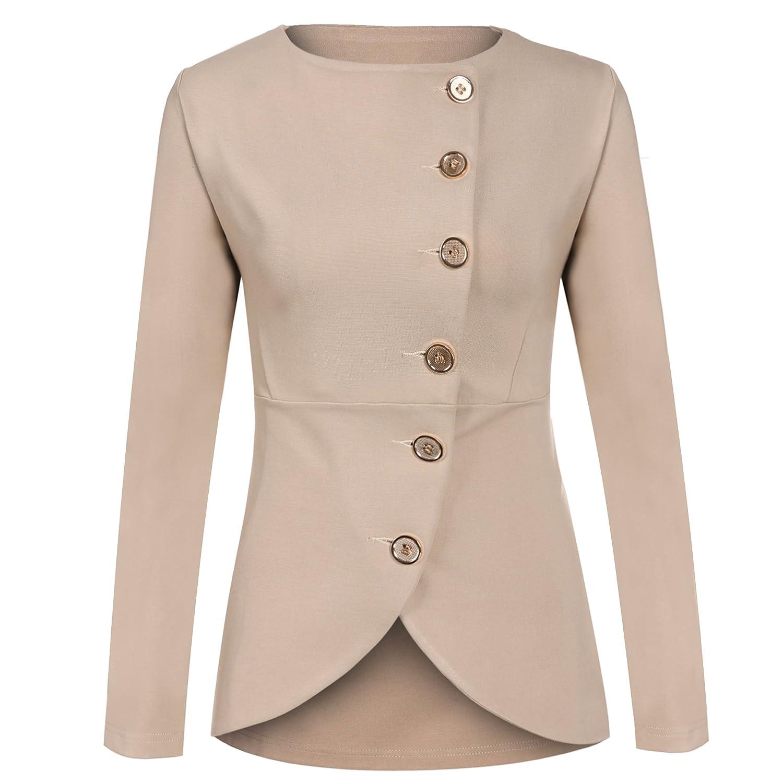 c42c5a9a863fa8 Meaneor Damen Knopf Business Jacke Blazer Übergangsjacke Military Jacke  Slim Fit Mantel Reverskragen Asymmetrisch