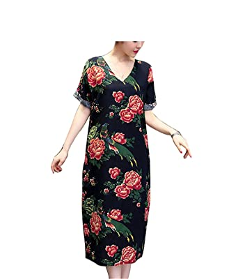 SmarketL Fashion Cotton Linen Vintage Print Women Casual Loose Summer Long Dress Vestidos Femininos Party Dresses
