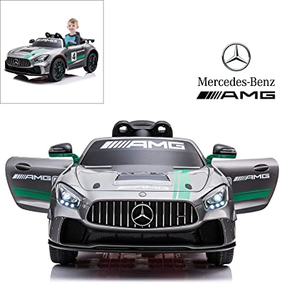 Mercedes Benz AMG GT4 Electric Ride On Car with Remote Control for Kids, 12V Power Battery Official Licensed Kids Car with 2.4G Radio Parental Control Opening Doors, Painted Silver: Toys & Games