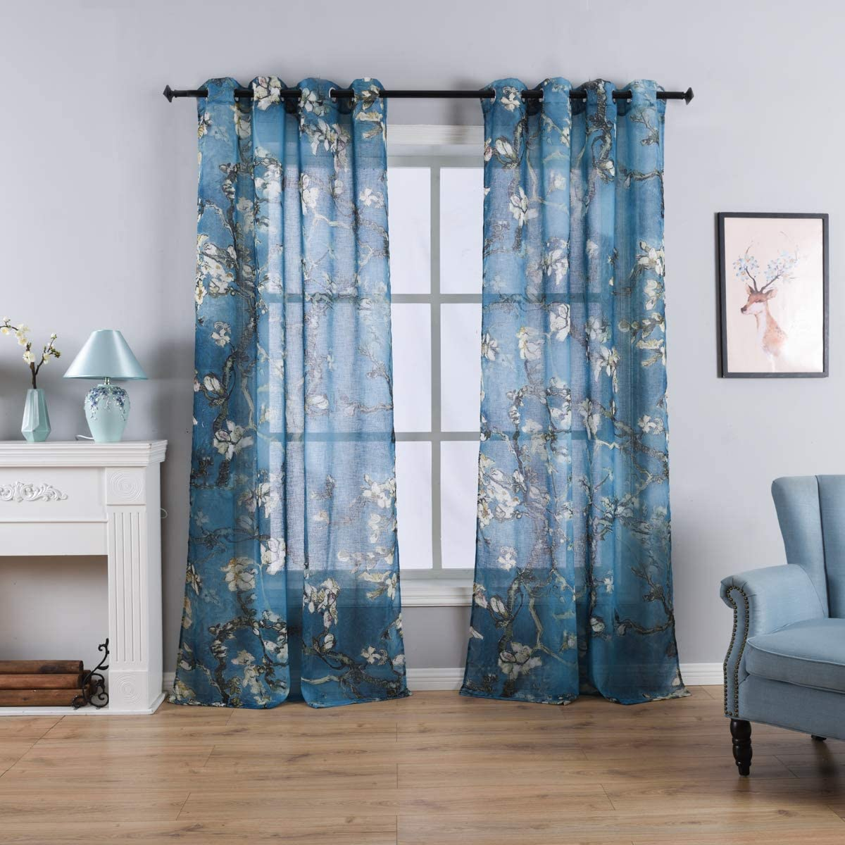 Taisier Home Chinese Style Plum Blossom Sheer Curtain Artistic Print Curtains 84 Inches Long for Living Room,Personalized Pattern Curtains 2 Panels Set Grommet Top Style
