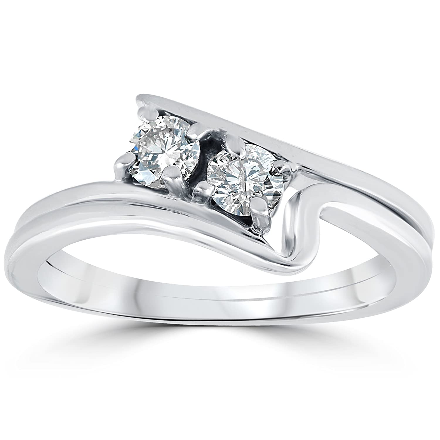 Cheap 3 4CT Two Stone Diamond Forever Us Engagement Ring Set 10K White Gold