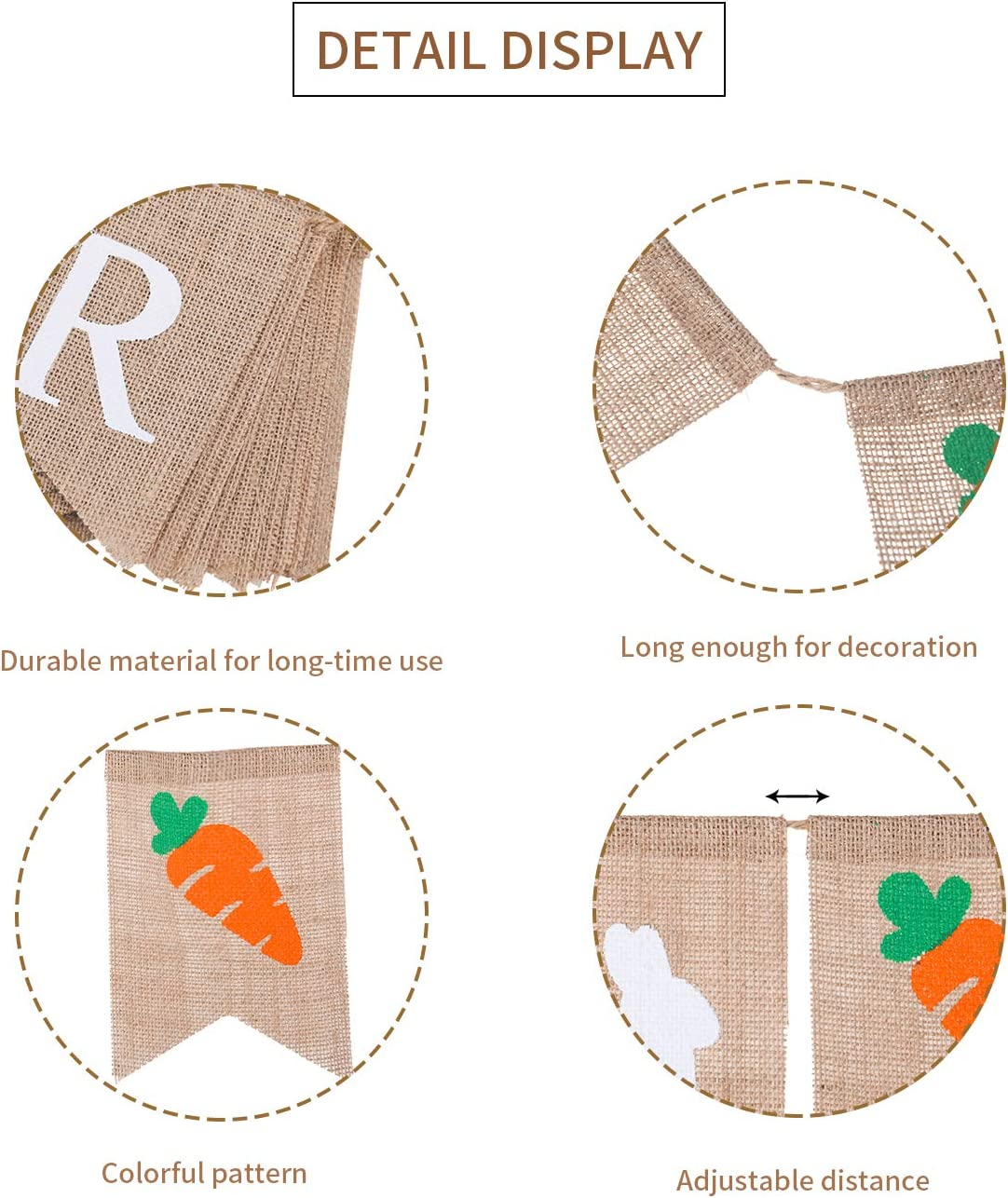 2 Sets Happy Easter Burlap Banners Easter Bunting Garland Bunny and Carrot Burlap Banner for Easter Party Decoration 2 Styles