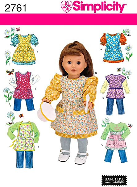 One Size Simplicity Sewing Pattern 2302 Doll Clothes